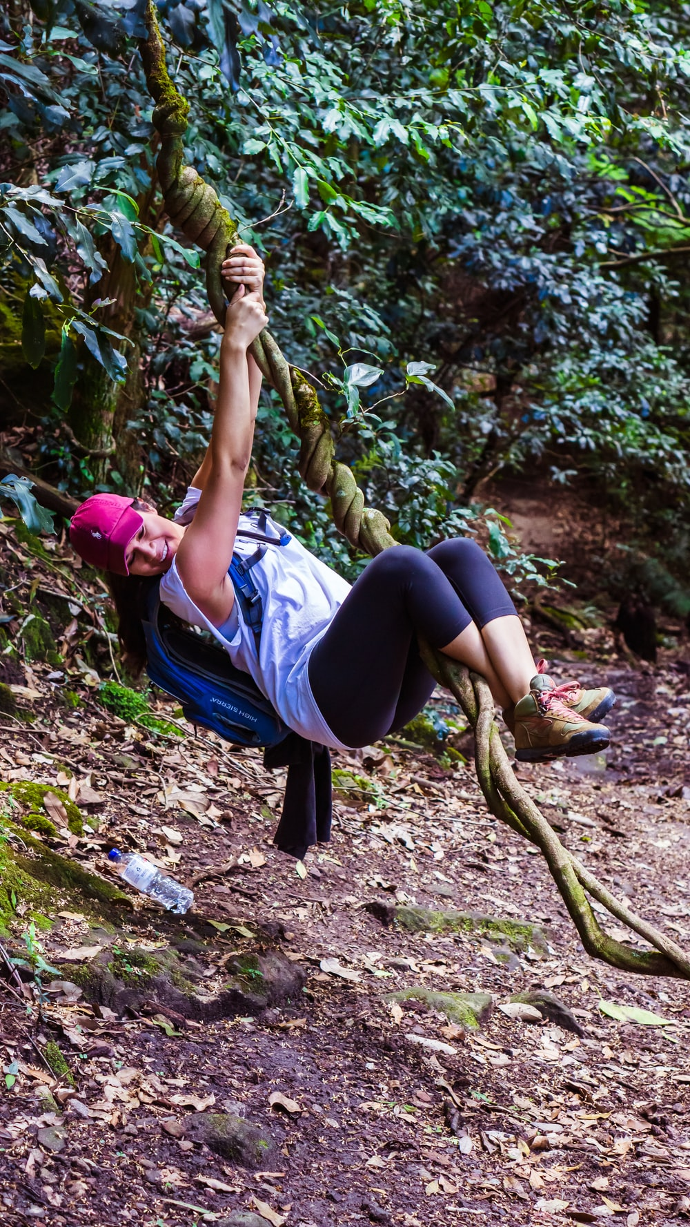 woman swinging on tree branch