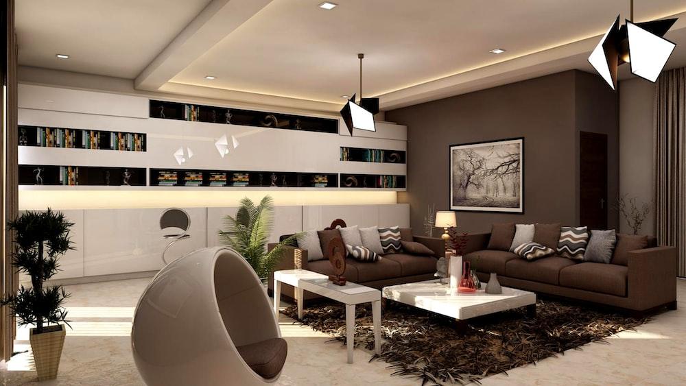 grey living room interior
