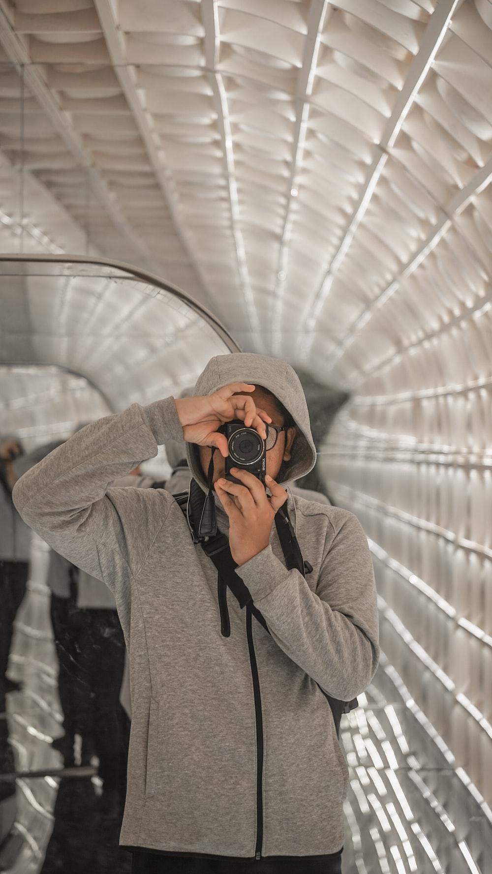 man using camera