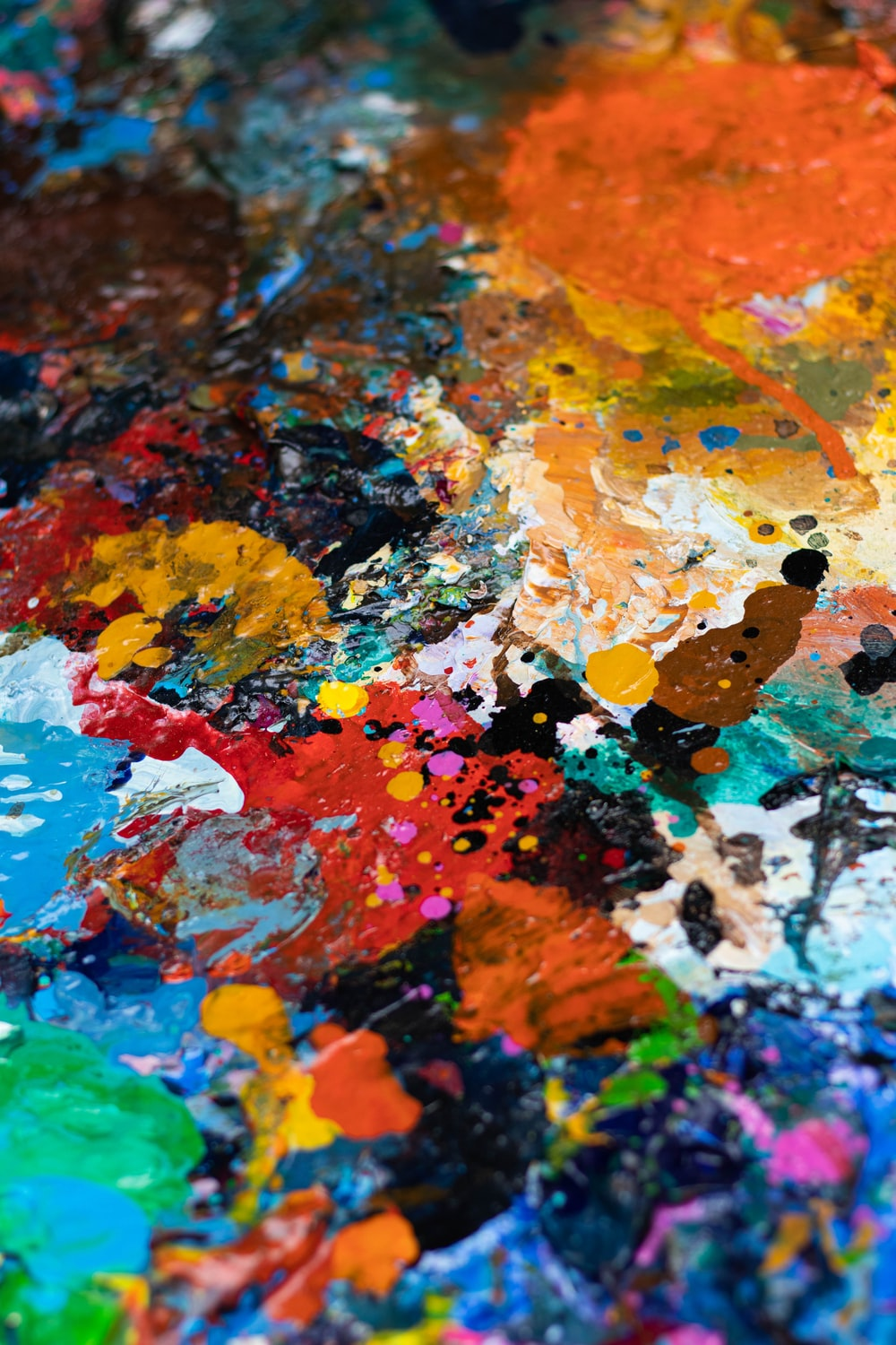 blue, white, orange, and red abstract painting
