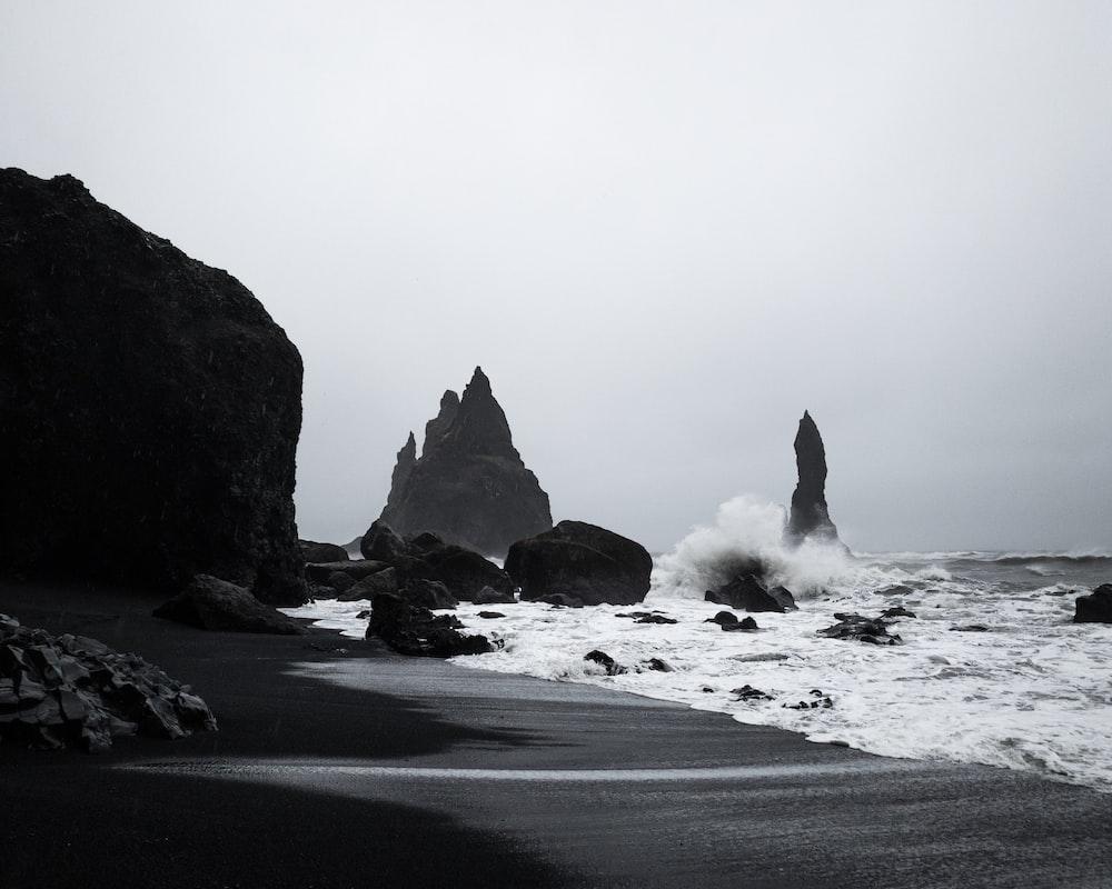 calm ocean near rocks