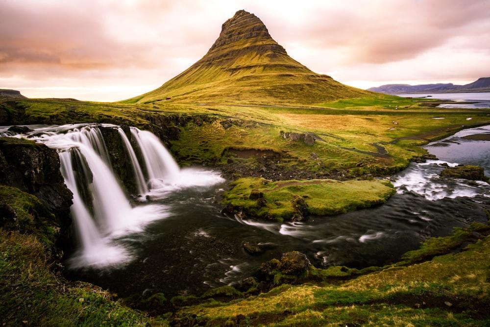 mountain near waterfalls