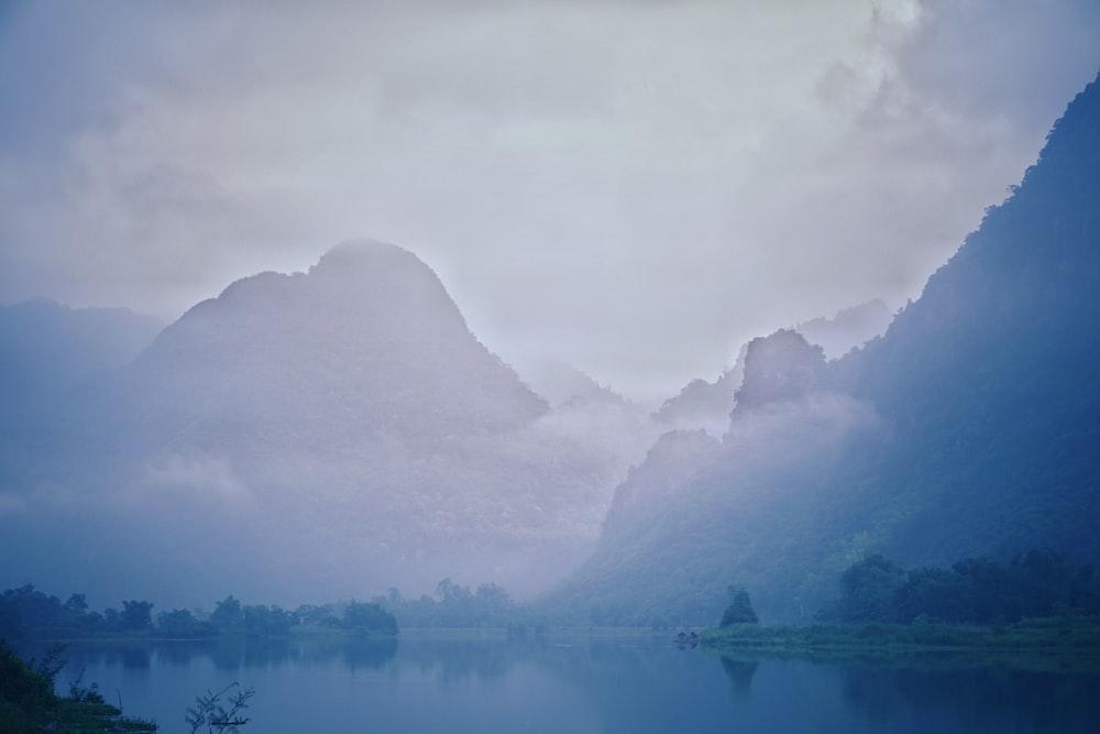 calm water across mountains