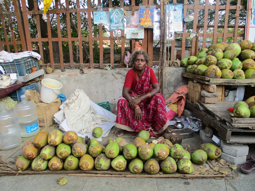 woman sitting near coconut fruits