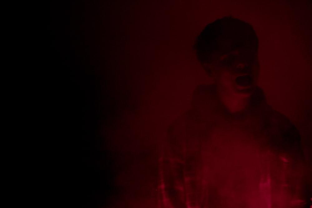 man in red hooddie