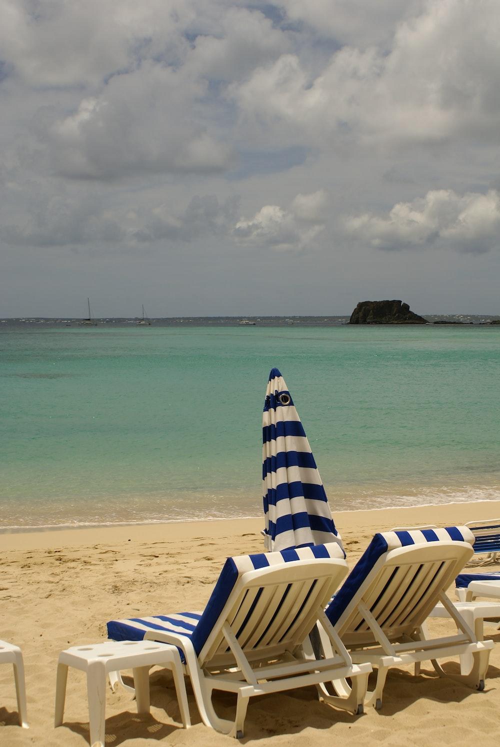 lounger on seashore