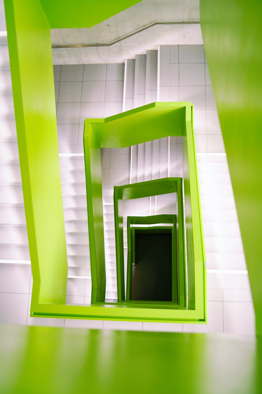 white and green spiral stairs