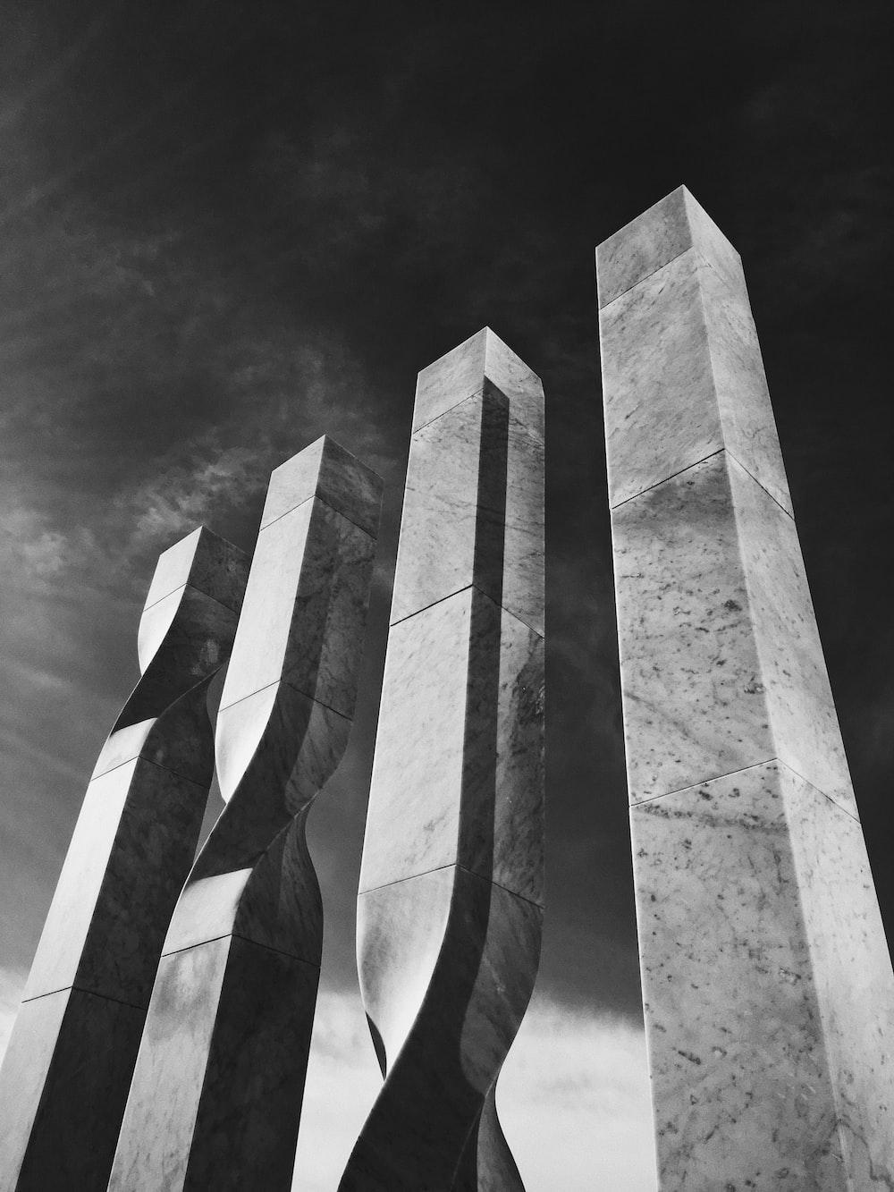 grayscale photography of pillar