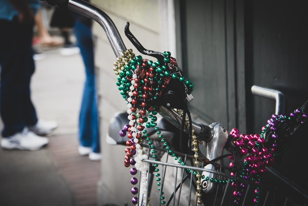 beaded necklace on bicycle