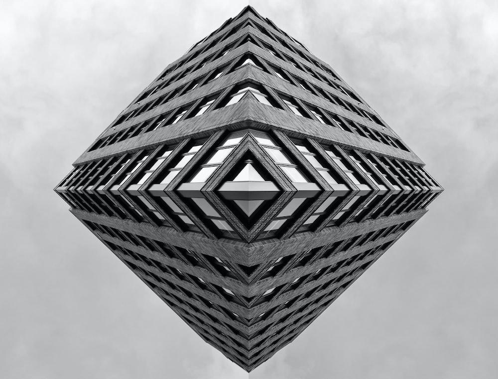grey pyramid shaped building