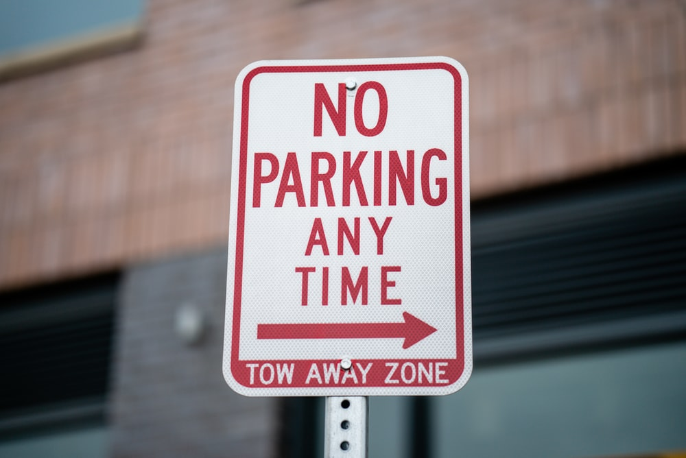no parking any time street signage