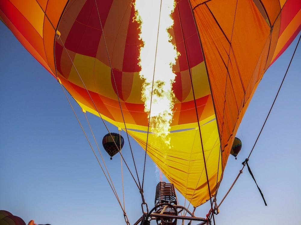 orange and yellow hot air balloon