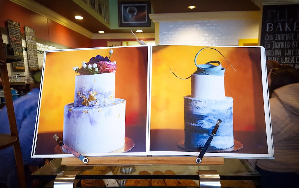 two fondant cake paintings
