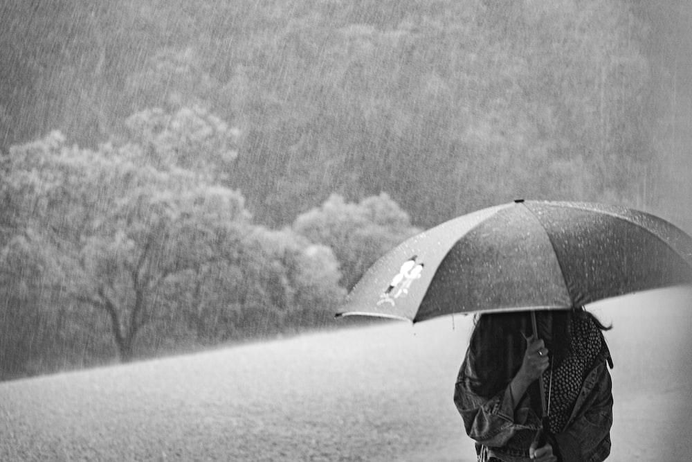 woman under umbrella during rain