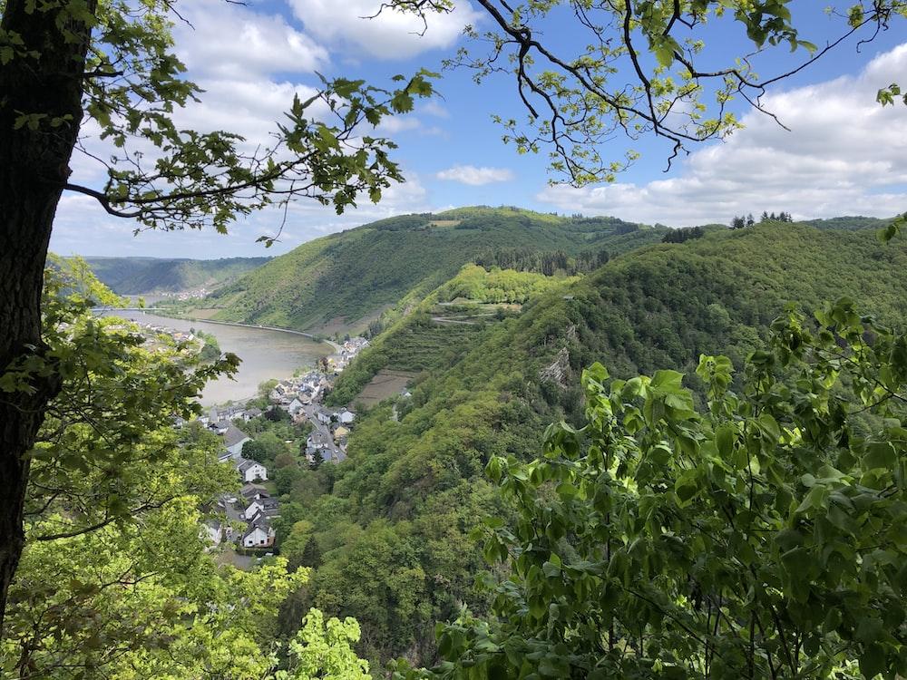 green mountain near body of water during daytime