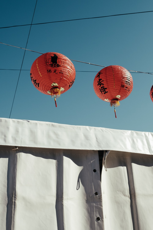 two red Chinese lanterns