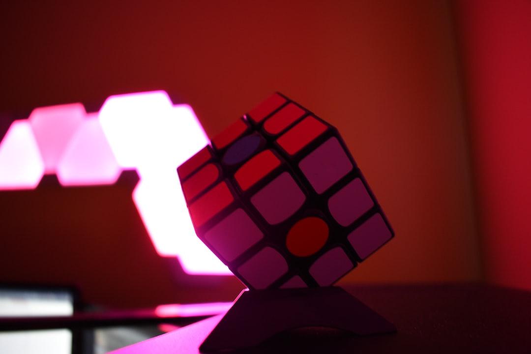 Rubik's cube in dark room.
