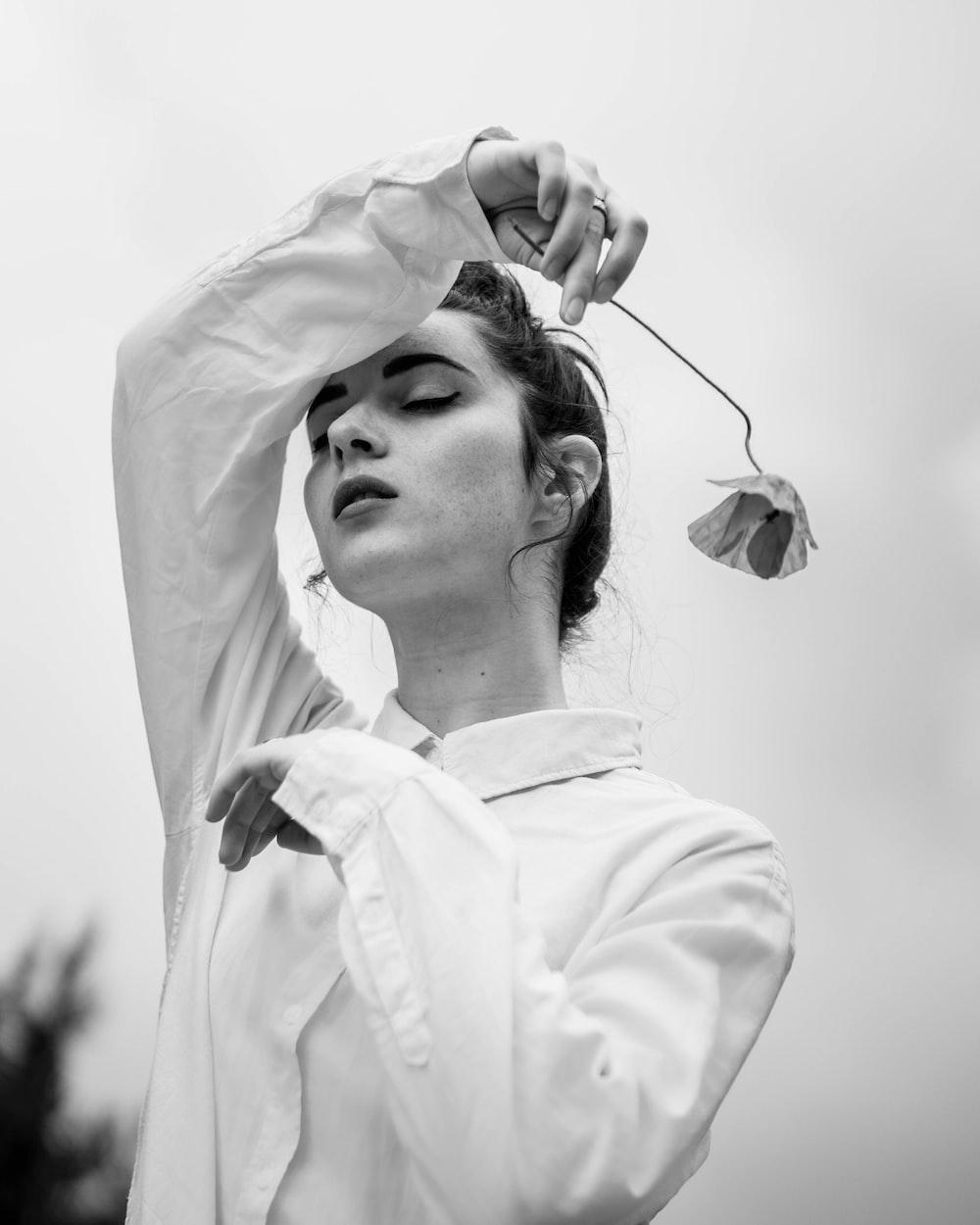 woman in white longsleeve top