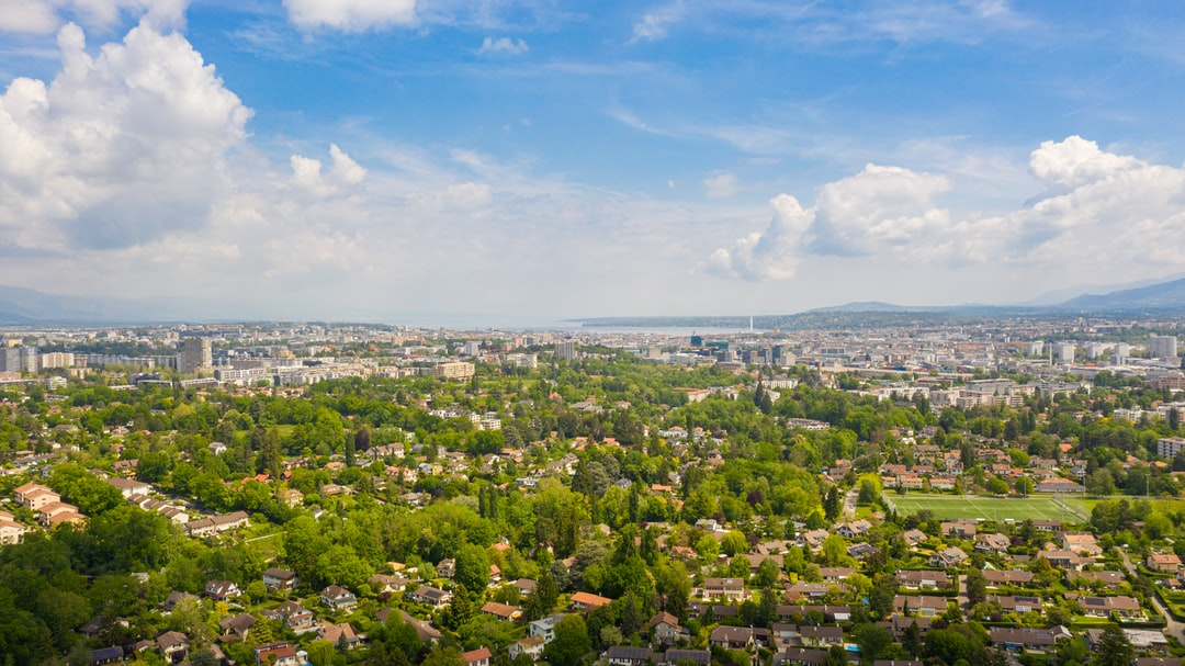 Drone view of Geneva, Switzerland