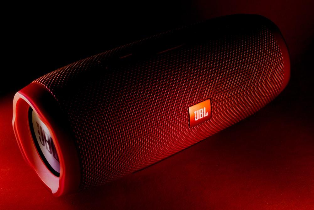 red JBL portable speaker
