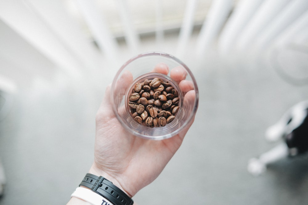 person holding clear drinking glass with filled of coffee beans