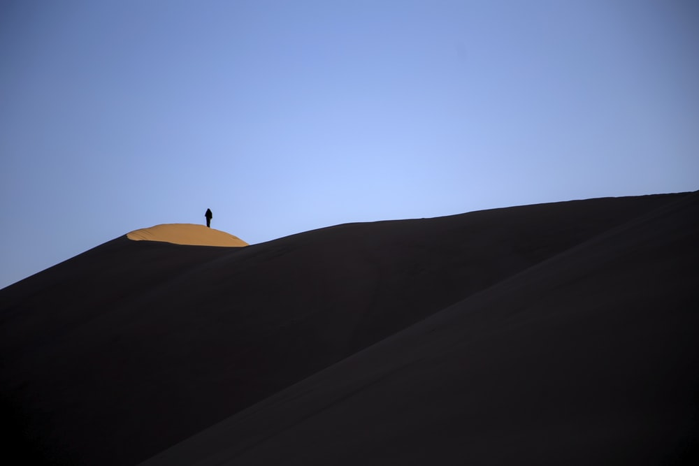person standing on top of sand hill