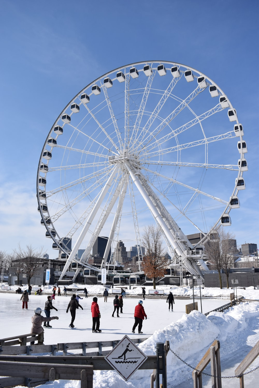 people on ice skating near Ferris wheel during day