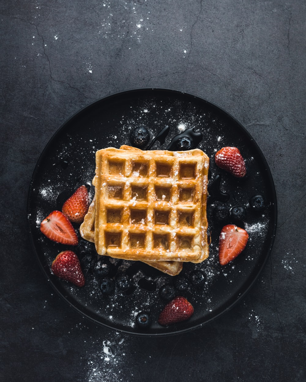 square waffle with strawberries