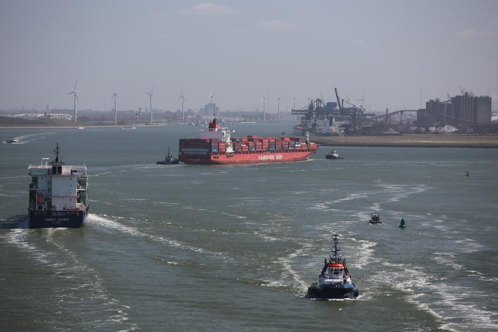 red boat on ocean