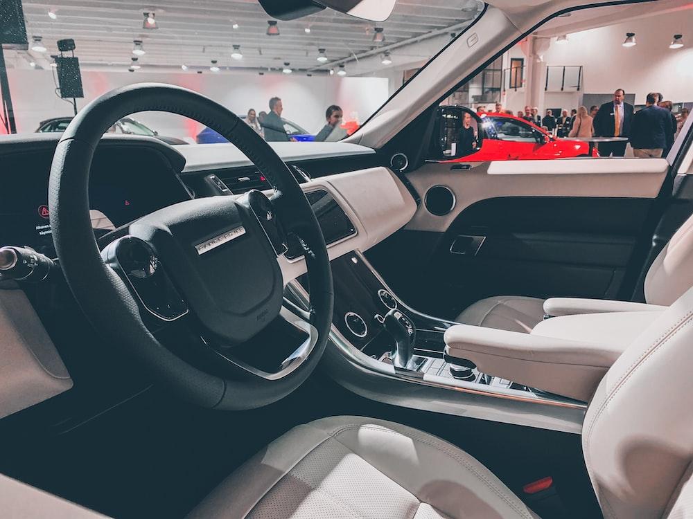 black and gray vehicle interior close-up photography '