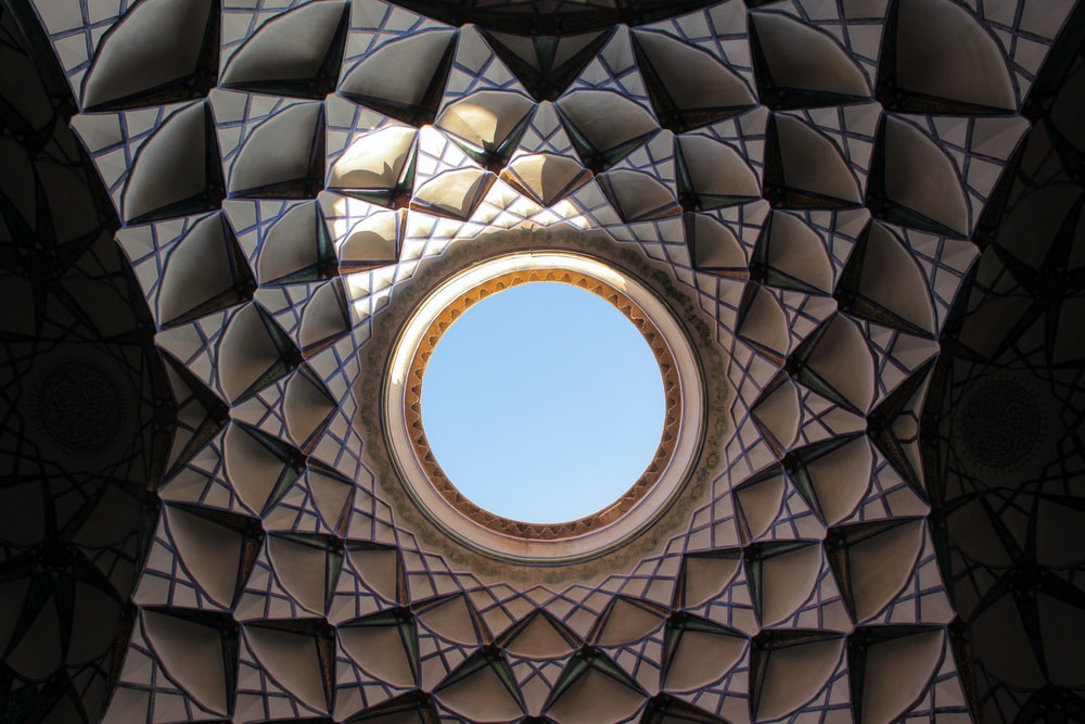 low angle view of kaleidoscope ceiling