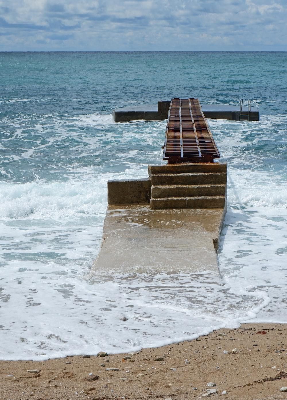 broken pier at daytime