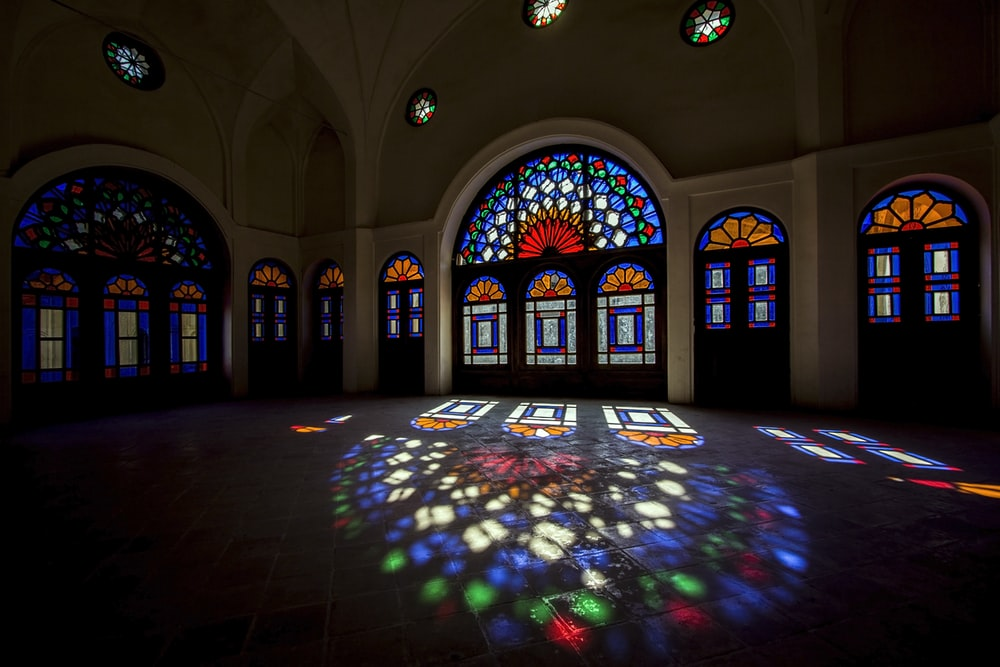 multicolored stained window glass