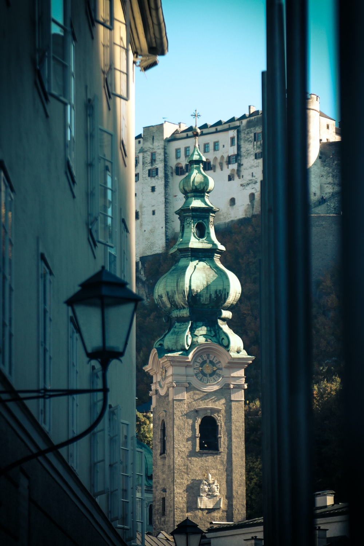 belltower between buildings