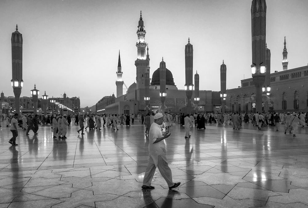 grayscale photography of people on Mecca Sa