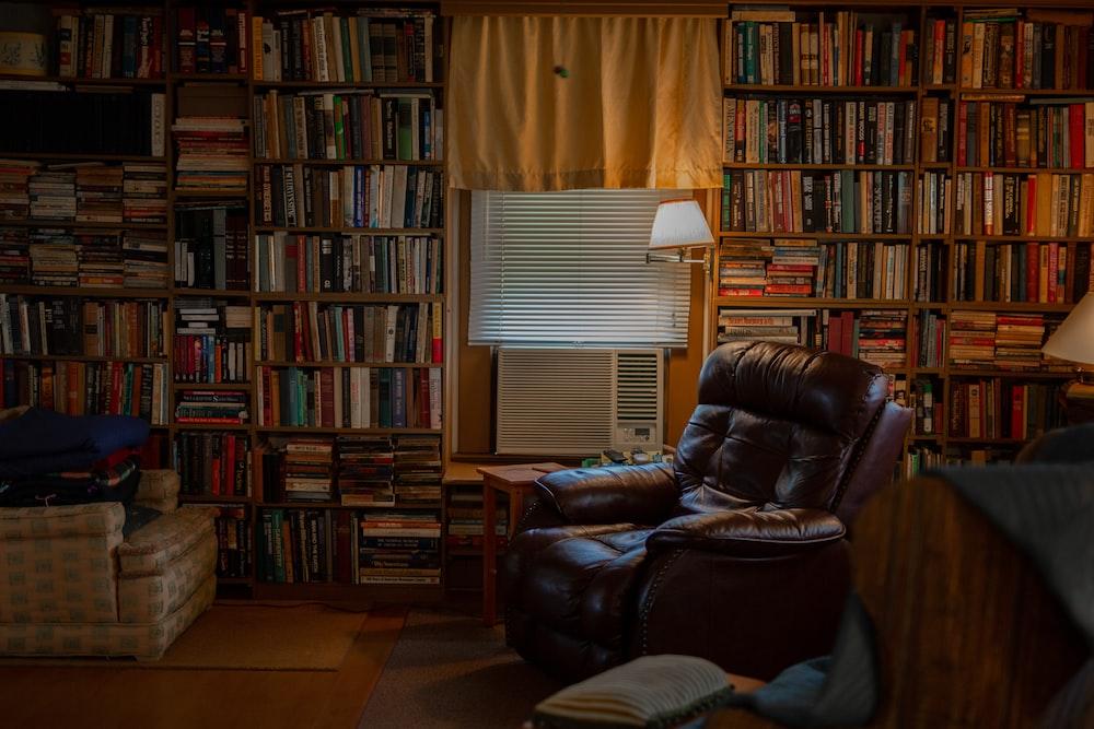 brown recliner sofa chair among books
