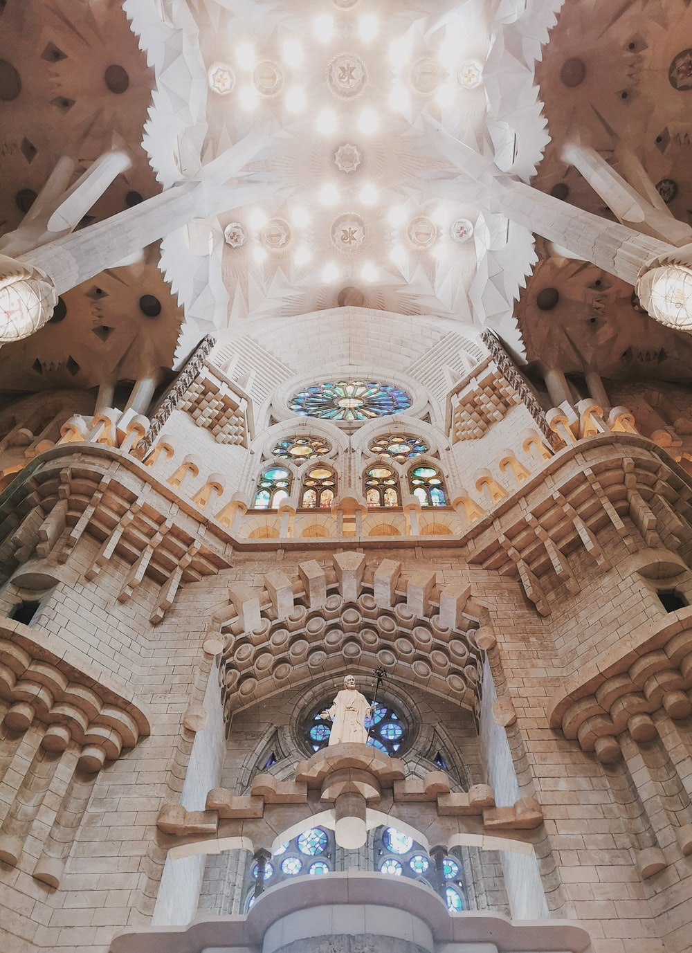 low angle view of gothic architecture inside church