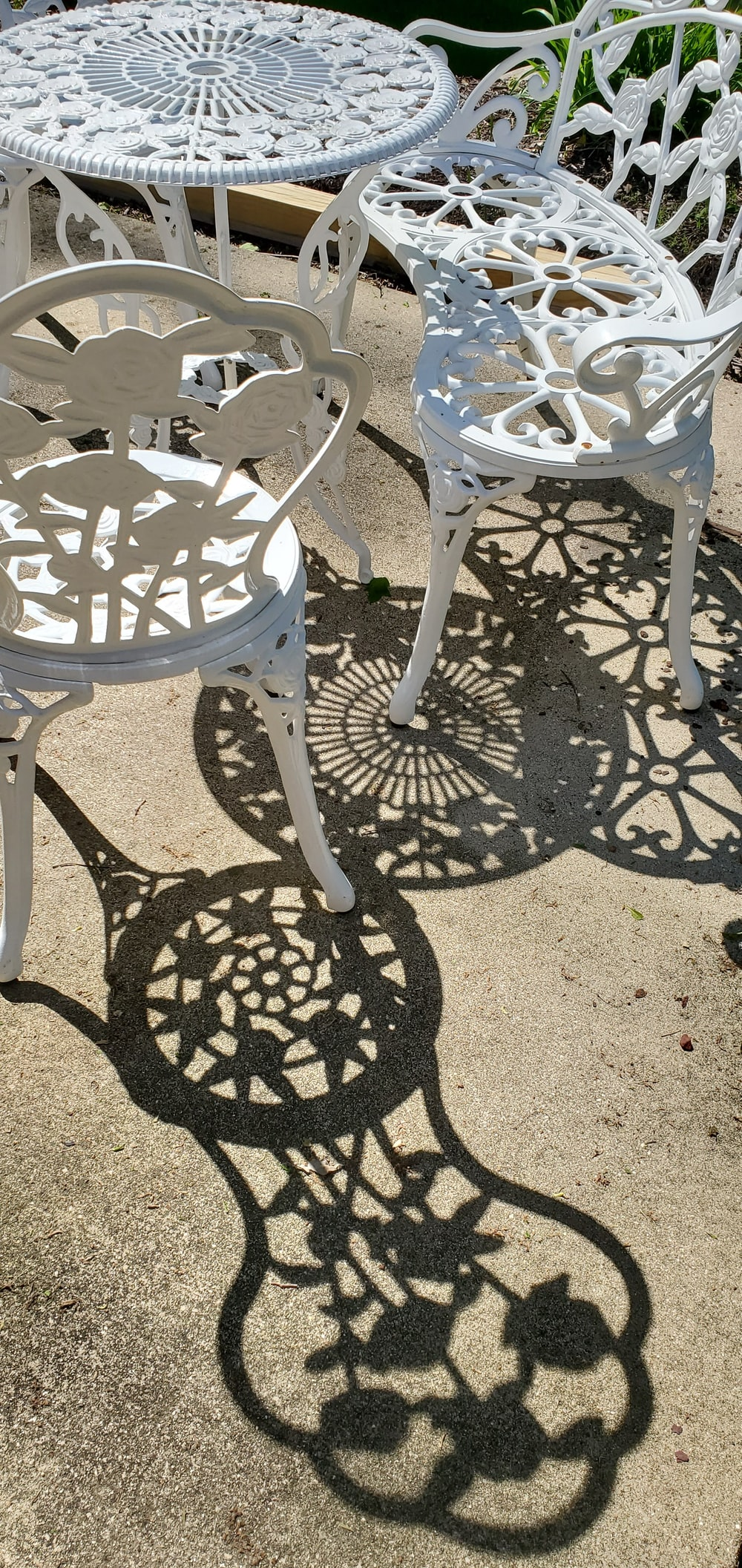 white metal patio table set