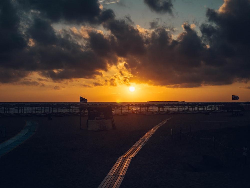 empty shore during golden hour