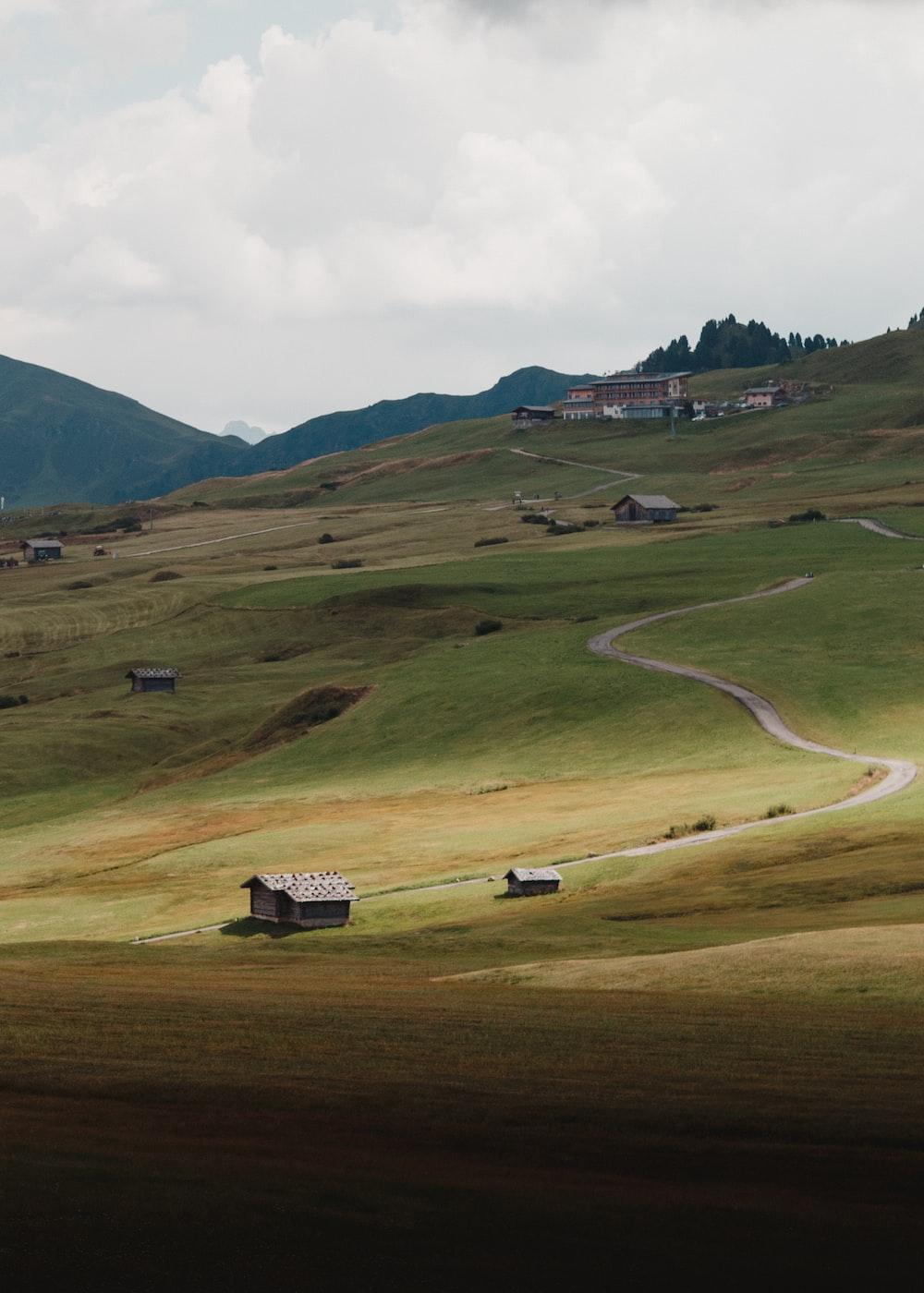 green grassland across white clouds photo