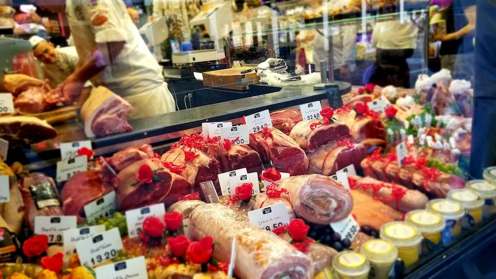 sliced meat on market
