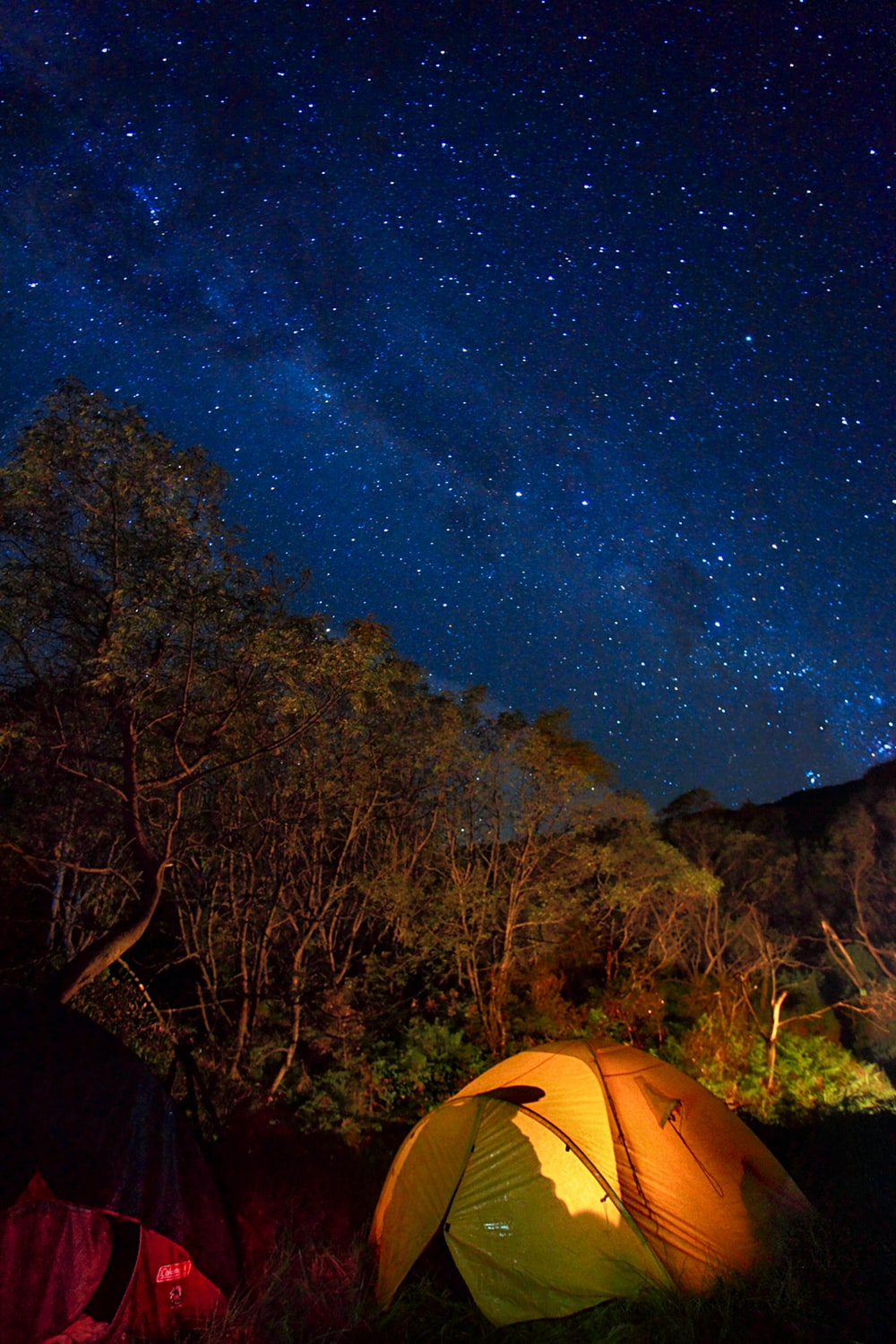 two tents under starry night