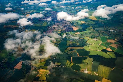high angle view photography of field aerial view zoom background