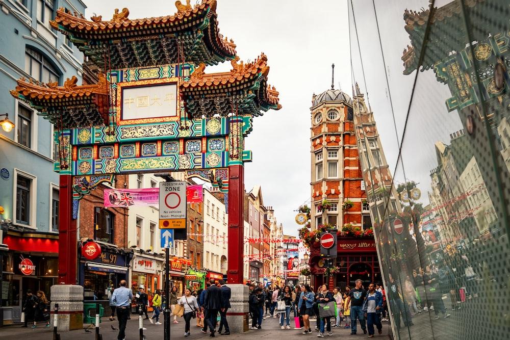 people walking at China town during day