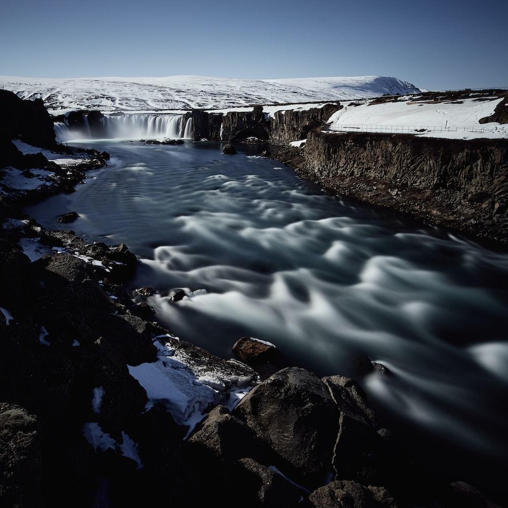 river near snow mountain