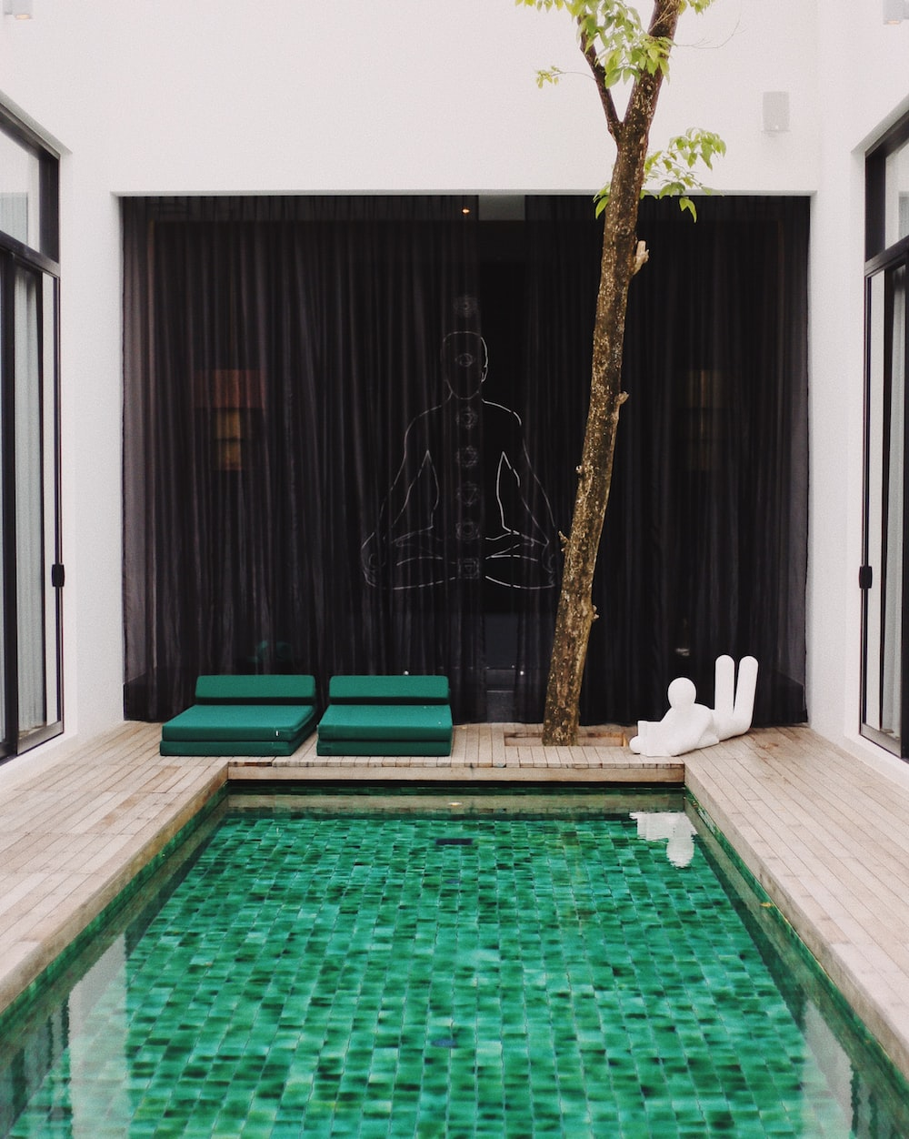 multicolored pool in room