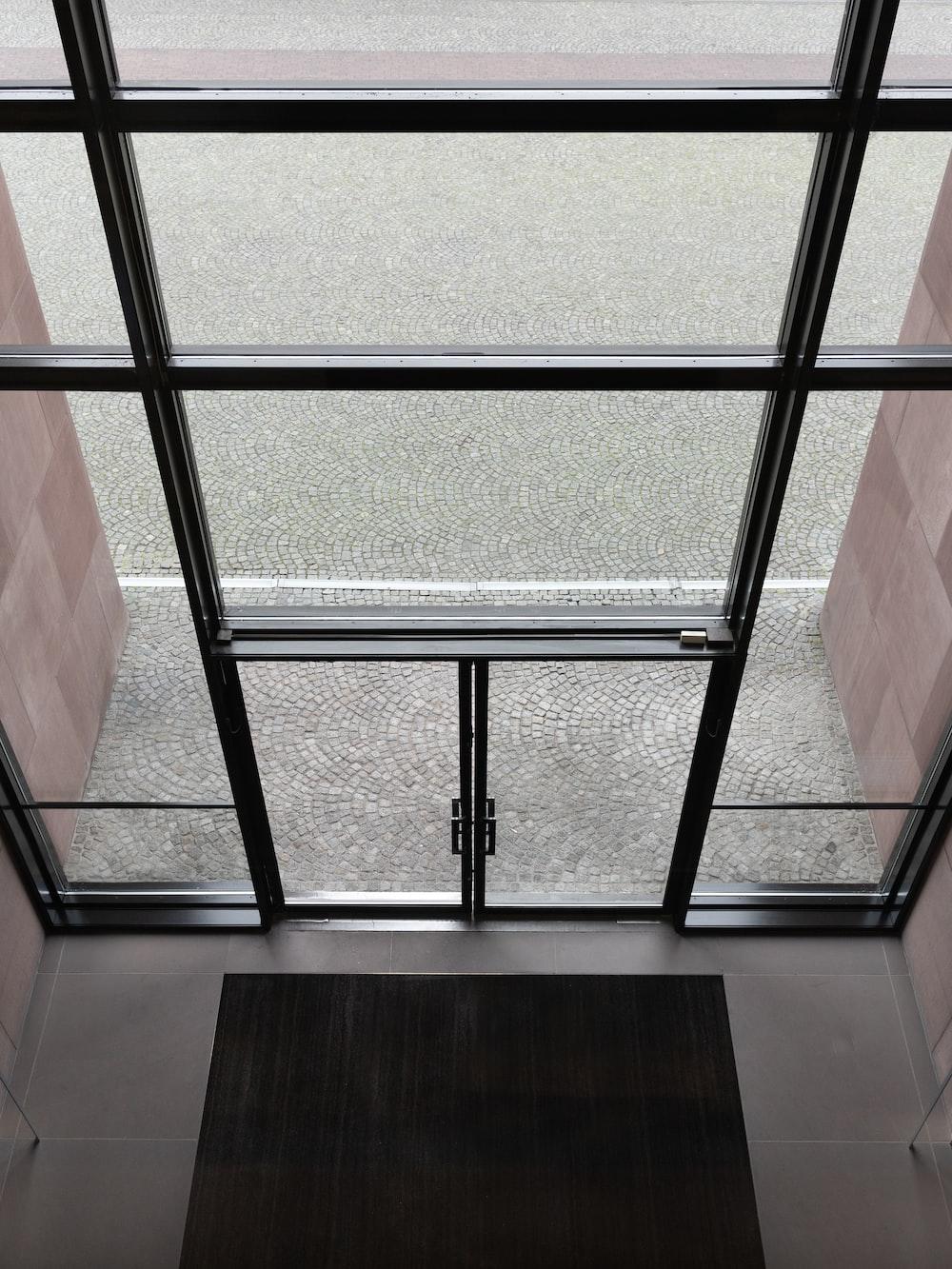 black-framed clear glass doog