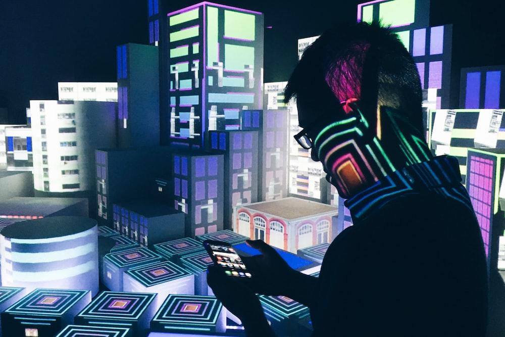 man inside computerized room