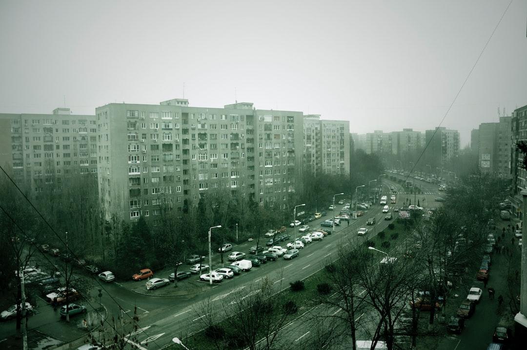 Old communist apartment buildings in Romania