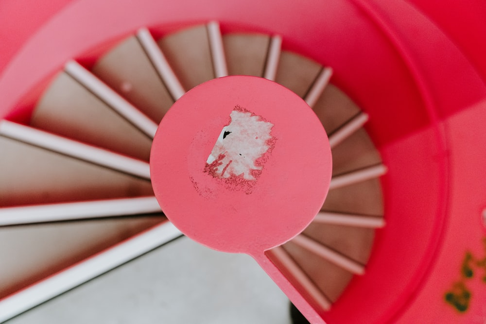 red and beige stairs
